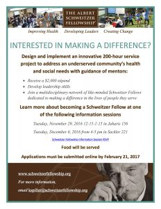Albert Schweitzer Fellowship Application Deadline