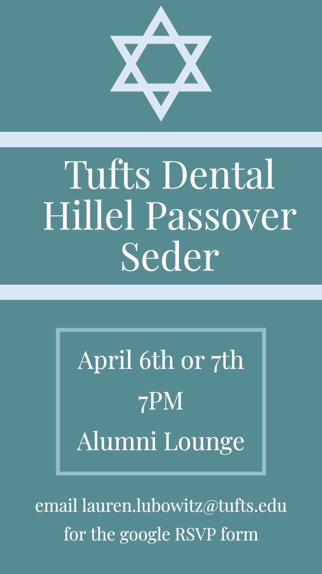 Tufts Dental Hillel Passover Seder @ TUSDM Alumni Lounge - 15th Floor